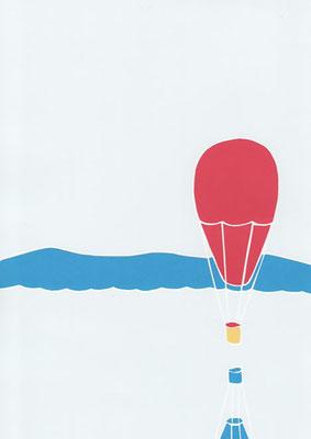 広島のイラストレーター、絵本作家であるミヤタタカシ切り絵イラスト「赤い気球」