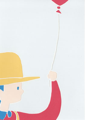 広島のイラストレーター、絵本作家であるミヤタタカシ切り絵イラスト「僕と赤い風船」