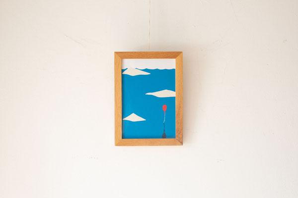 広島のイラストレーター絵本作家、ミヤタタカシ の切り絵イラスト「広い海にぽつん」