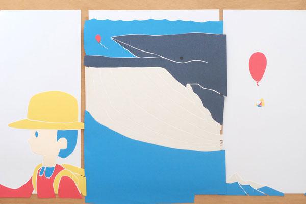 広島のイラストレーター絵本作家、ミヤタタカシ の切り絵イラスト「くじら」