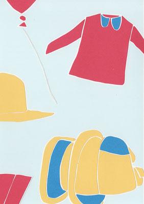 広島のイラストレーター、絵本作家であるミヤタタカシ切り絵イラスト「僕の持ち物」