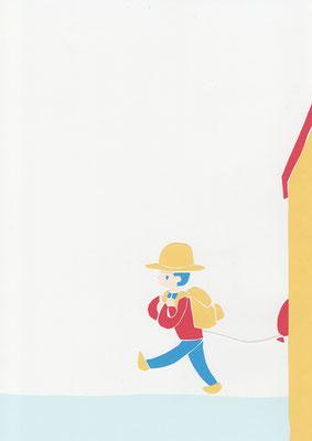 広島のイラストレーター、絵本作家であるミヤタタカシ切り絵イラスト「僕は歩いて行くよ」