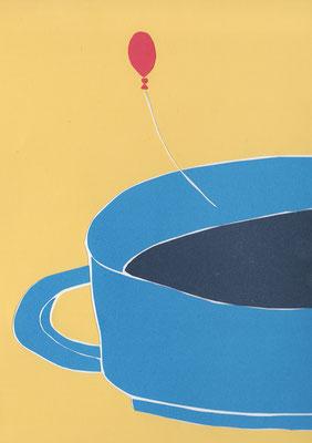 広島のイラストレーター、絵本作家であるミヤタタカシ切り絵イラスト「コーヒーと風船」