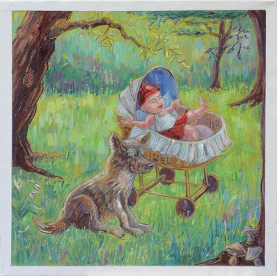 Roodkapje, the prequel, 40-40 cm, oil on canvas