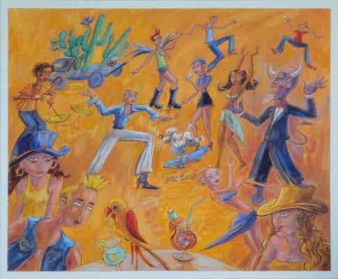 Scheef feestje, 60-50 cm, oil on canvas