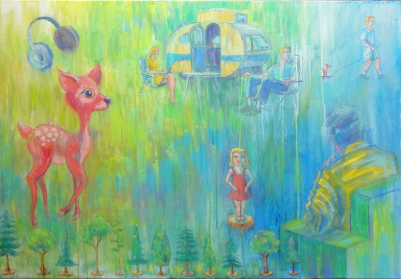 Bambi & the aliens, 120 x 80 cm, oil on canvas