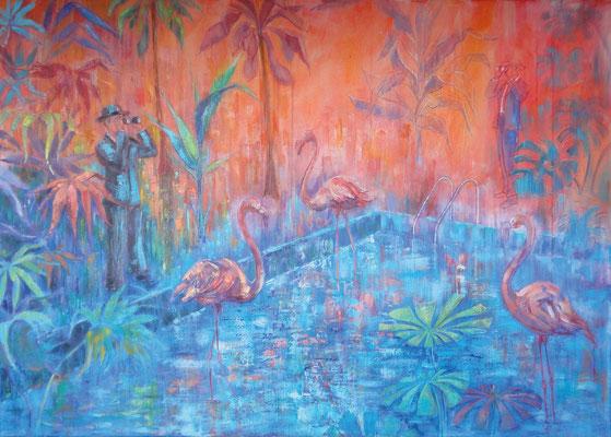 De vluchtelingen, 140 x 100 cm, oil on canvas