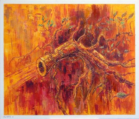 de boomrevolver mutatie21, 70-60 cm, oil on canvas