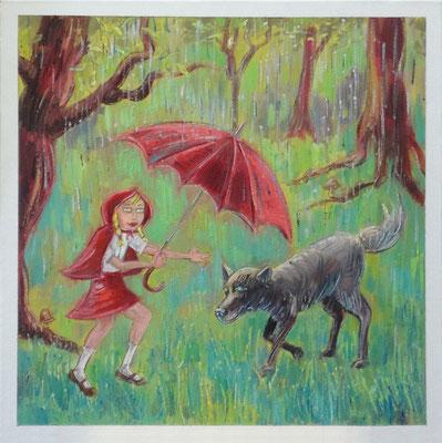 Roodkapje, 40-40 cm, oil on canvas