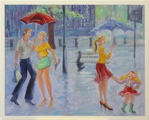 Plotse zomerregen, 50-40 cm, oil on canvas