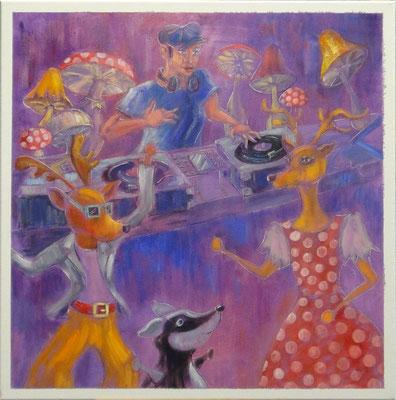 Nacht in het woud, 50 x50 cm, oil on canvas