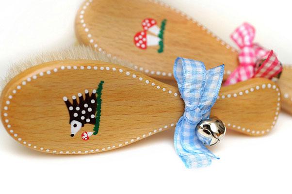 Babybürste und Kinderbürste handbemalt - Igel und Fliegenpilze
