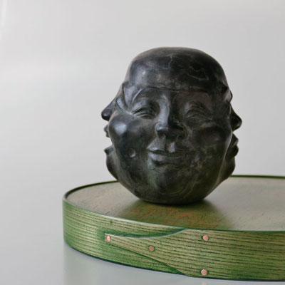 Tablett grüne Esche mit Vogelaugenahorn / gewendet