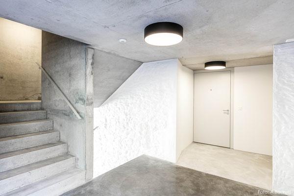 Treppenhaus aus Beton, Mehrfamilienhaus in Sargans