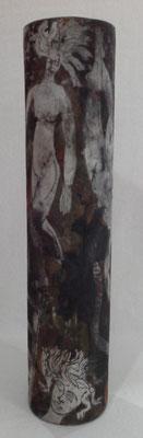 """Autor: Francisco Huazo  Título: de la serie  """"Nuevos contenedores"""" Técnica: Rakù  Medidas: 90 x 20 cm. Año: 2014 Clave: 24C 14 FH"""