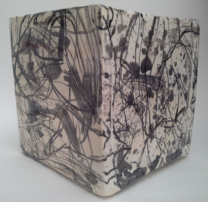 """Autor: Francisco Huazo Título: De la Serie """"Mundos Paralelos"""" Técnica: Pincel japonés, esmalte transparente. Medidas: 23cm x 24cm Año: 2015 Clave: 15 FH 16"""