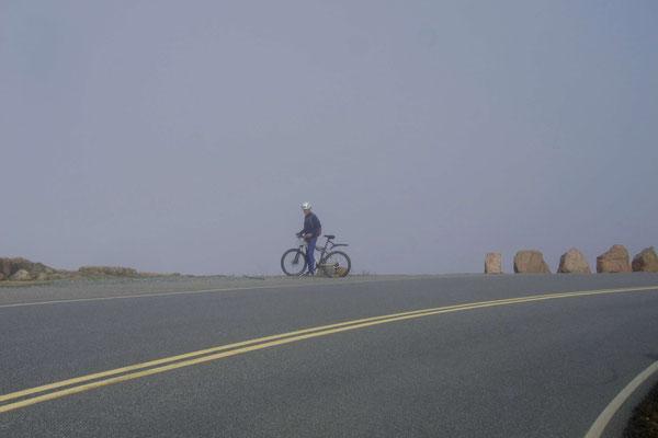 Wieder Nebel bei der Fahrt auf den Cadillac Mountain