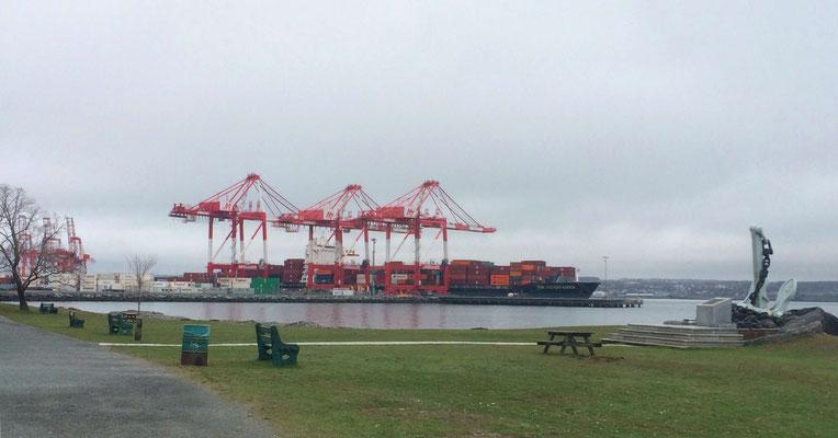 Blick vom Point Pleasant Park auf den südlichen Containerhafen von Halifax