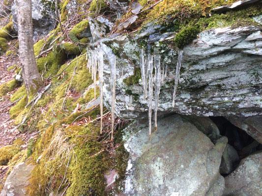 Es ist kalt - Eiszapfen am Wanderweg