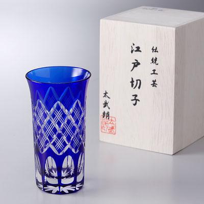 "*Edo-kiriko ""shot glass"" Yarai Pattern - blue -"