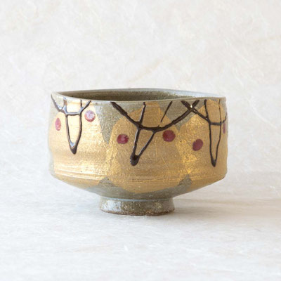 "* Kutani Japan Matchawan ""Gold leaf flower"""