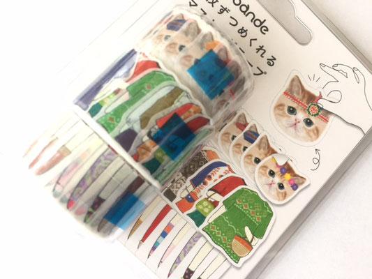 "Masking roll sticker ""dress-up cat girl"""