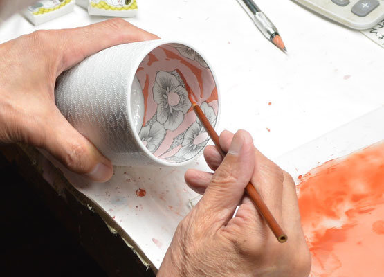 *Painting on the inside of the cup