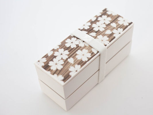 "*Bento-box ""Sakura-wood grain"" slim, 2-layer, 560ml"