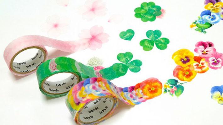 """Masking roll stickers """"sakura petals"""", """"clover"""", """"Pansy"""""""