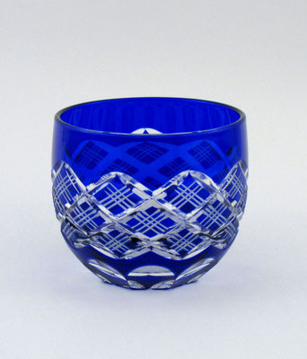 """*Edo-kiriko """"guinomi sake cup Yarai Pattern"""" - blue -"""