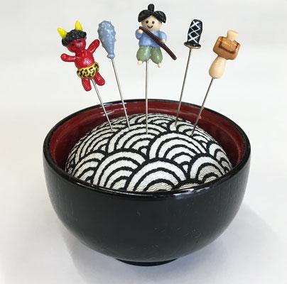 """*Pincushion in Shikki -Yamanaka lacquerware- """"Issunboshi"""""""