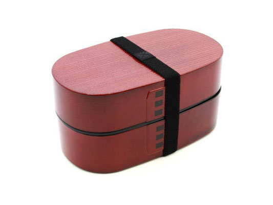 "*Bento-box ""Wappa-wood tone"" red 2-layer, 900ml"