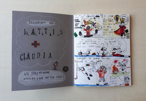 Skizzenheft, Mattis und Claudia, 11 und 43 Jahre