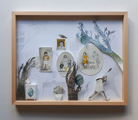 Familienbilder - Papercut Illustration Exhibition Kunstschau 2018