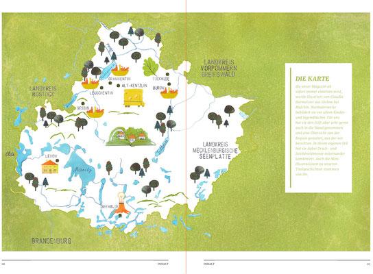 Karte für das VielSehn Magazin Mecklenburgische Seenplatte, 2021