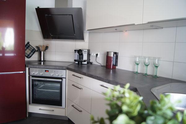 In unserer Küche finden Sie Herd, Backofen, Spülmaschine, Kühl- & Gefrierschrank.