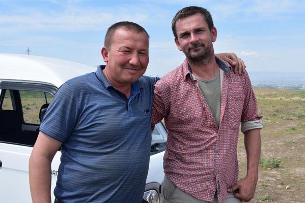 usbekischer Bauer - auf seinem Feld haben wir eine Nacht gestanden