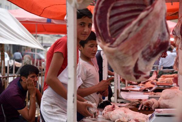 Fleischabteilung auf dem Basar in Namangan