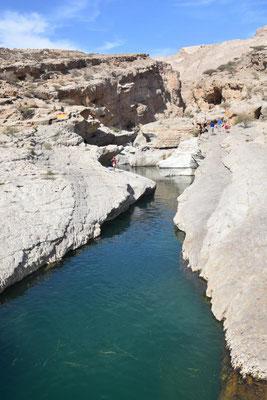 ein großer Pool im Wadi Bani Khalid - Janus steht links auf dem Felsen