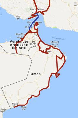 Ausschnitt Route arabische Halbinsel / Dezember 2017 bis April 2018