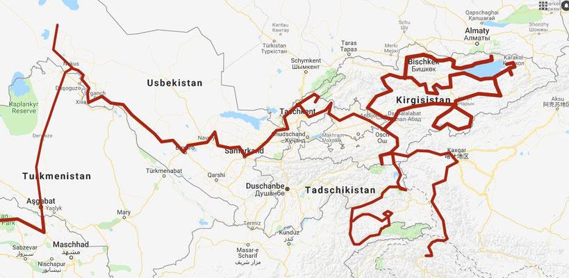 Ausschnitt Route Zentralasien / Mai bis September 2018