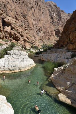 der Einstieg zu den Pools im Wadi Shab