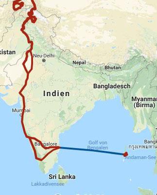 Ausschnitt Route Indien / November 2018 bis Februar 2019
