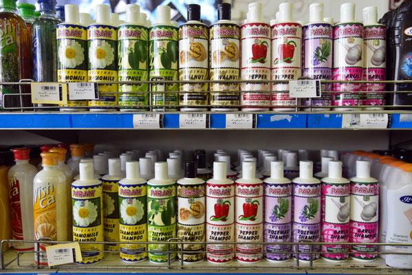 Shampoo in verschiedenen Geschmacksrichtungen: Chili, Pfeffer, Knoblauch...