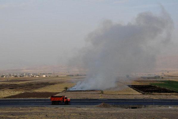 überall brennende Felder - nach der Ernte wird der Rest einfach verbrannt. Das halbe Land ist in eine Dunstwolke getauscht und es stinkt furchtbar