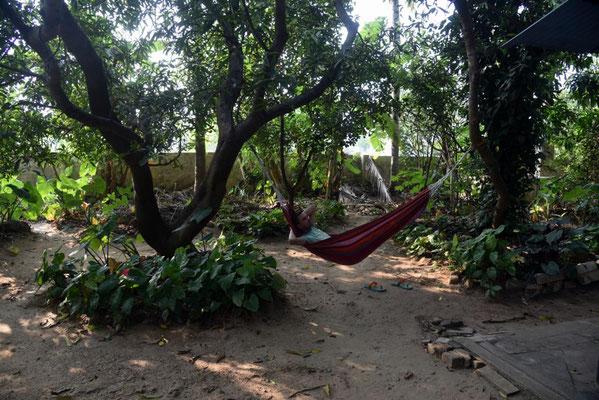 Abhängen im Garten bei Ashok