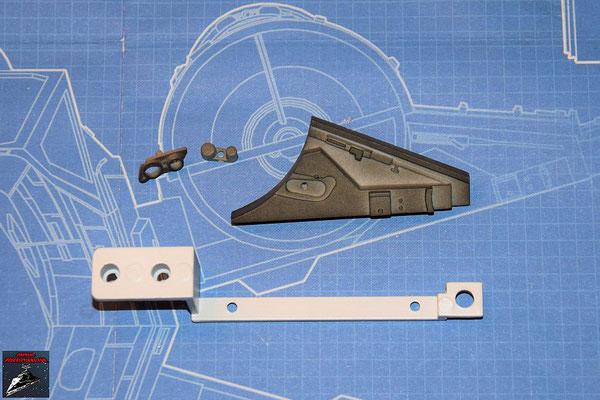 DeAgostini Bau deinen X-Wing Ausgabe 53 Anbaudetails, Verbindungsstück (Kunststoff) und Metallwinkel