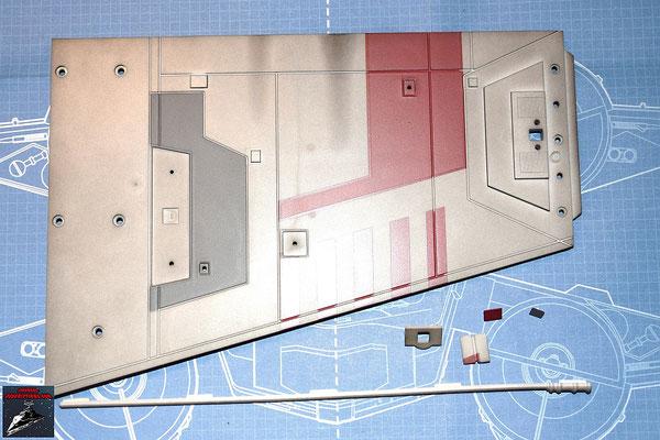 DeAgostini Bau deinen X-Wing Ausgabe 21 Flügelunterseite, Oberflächendetails und Detail für die Hinterkante (Kunststoff)