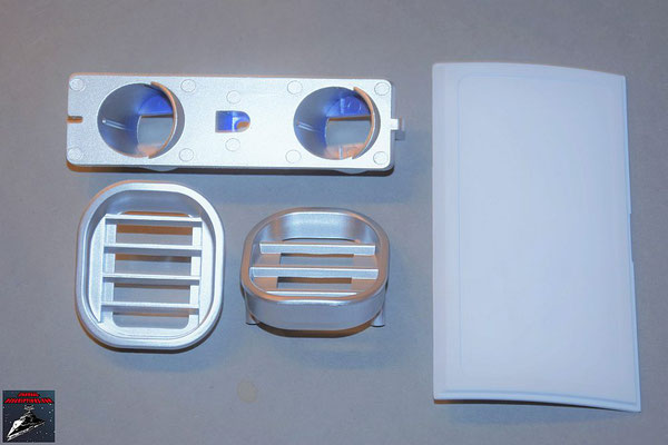Build your own R2-D2 Ausgabe 82 Sensorhalterung, Akustik- und Ventilatorgrill, Klappe für die mittlere Werkzeugkammer (alles Kunststoff)