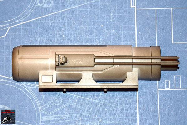 DeAgostini Bau deinen X-Wing Ausgabe 19 Die Einzelteile der unteren Backbordkanone werden zusammengesetzt